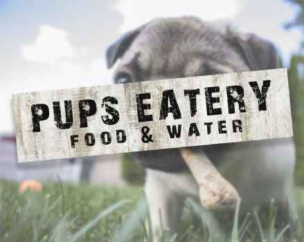 Pups Eatery Food and Water Dog Metal Sign Plaque